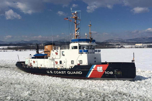 Coast Guard Cutter Thunder Bay breaks ice in the Hudson River near Catskill, N.Y., on March 3, 2015, in support of Operation Reliable Energy for Northeast Winters. (Coast Guard photo/Lt. Ken Sauerbrunn)