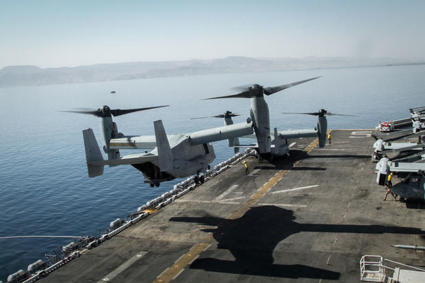 A U.S. Marine V-22 Osprey ascends the USS Bataan in Aqaba, Jordan, to begin a demo flight in support of Eager Lion 2017. (U.S. Army photo/Sgt. Mickey A. Miller)