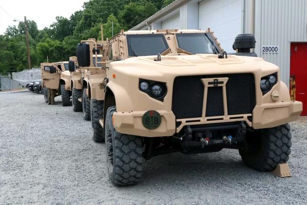 The Army and the Marine Corps show off the new Joint Light Tactical Vehicle at a test track at Marine Corps Base Quantico, Virginia. (Matthew Cox/Military.com)