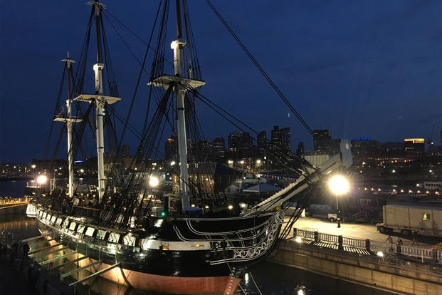USS Constitution is ready to leave Dry Dock 1 at the Charlestown Navy Yard, July 23, 2017. (U.S. Navy photo/Arif Patani)