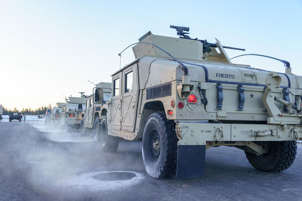 Humvees are staged to move to the blank fire range during Operation Cold Steel at Fort McCoy, Wis., March 15, 2017. (U.S. Army Reserve photo/Spc. Maurice Cheeks)