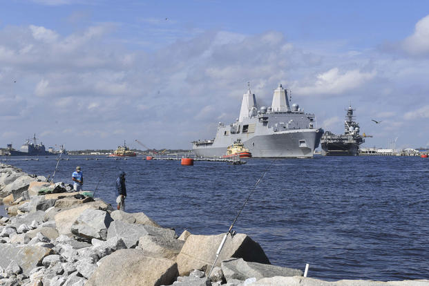 The amphibious transport dock ship USS New York (LPD 21) departs Naval Station Mayport to provide relief efforts to the Gulf Coast region in anticipation of Hurricane Nathan, Oct. 7, 2017. (U.S. Navy photo/Michael Lopez)