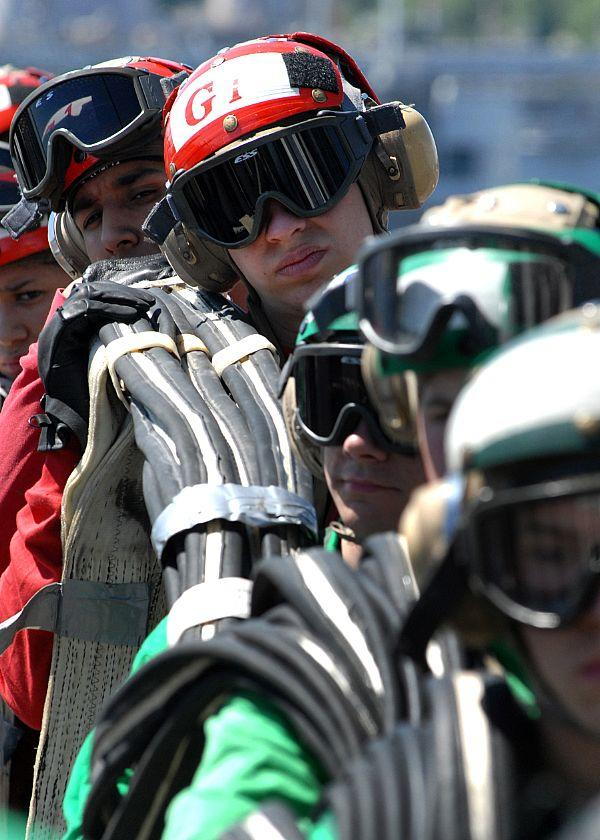 Air department sailors aboard the USS Abraham Lincoln.