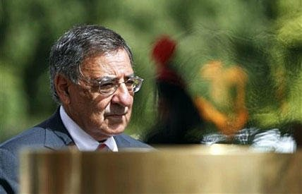 Defense Secretary Leon Panetta pays tribute at the India Gate war memorial monument, in New Delhi, India, on Wednesday. Panetta is urging leaders of India to play a more robust role in Afghanistan, as U.S. tensions with Pakistan mount.