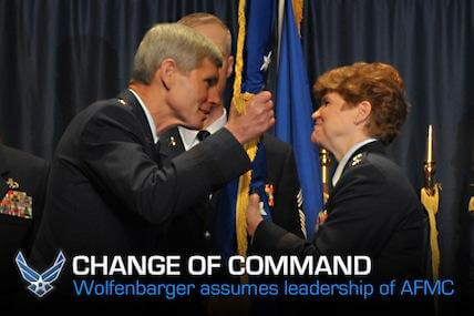Gen. Janet Wolfenbarger became the first female four-star general in the Air Force and assumed the top position of Air Force Materiel Command on June 5, 2012.