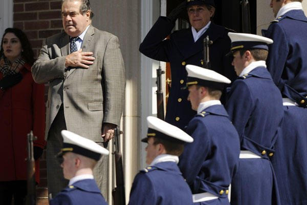 U.S. Supreme Court Justice Antonin Scalia urged U.S. Coast Guard Academy cadets Tuesday to have affection for the U.S. Constitution they will swear to defend upon entering military service.