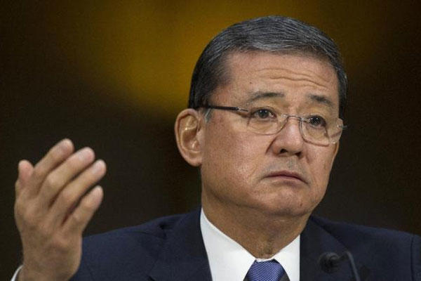 Veterans Affairs Secretary Eric Shinseki testifies on Capitol Hill, Thursday, May 15, 2014, before the Senate Veterans Affairs Committee hearing to examine the state of Veterans Affairs health care. (AP Photo/Cliff Owen)