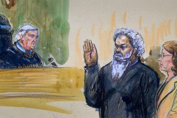 This June 28, 2014, artist's rendering shows United States Magistrate, Judge John Facciola, swearing in the defendant, Libyan militant Ahmed Abu Khatallah. (AP photo)