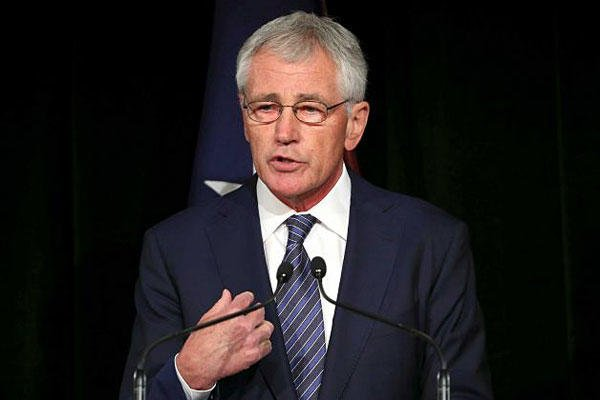 U.S. Secretary of Defense Chuck Hagel speaks during a press conference with Australia's Defense Minister David Johnston in Sydney, Australia, Monday, Aug. 11, 2014. Rob Griffith, AP