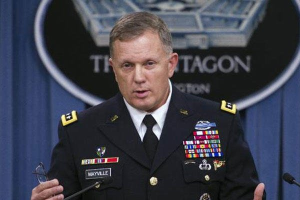 Army Lt. Gen. William Mayville, Jr., Director of Operations J3, speaks about the operations in Syria, Tuesday, Sept. 23, 2014, during a news conference at the Pentagon.  (AP Photo/Cliff Owen)