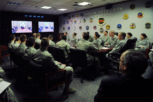 More than 30 members of the 55th Wing listen to Air Force Vice Chief of Staff Gen. Larry Spencer as he discusses the Airman Powered by Innovation program during a virtual town hall meeting Dec. 1, 2014. (U.S. Air Force photo/Charles Haymond)