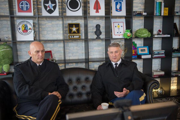 Army Chief of Staff Gen. Ray Odierno listens to Sgt. Maj. of the Army Raymond F. Chandler III, right, answer a question during a virtual town hall at the Google Headquarters in Washington, D.C., Jan. 6, 2015. U.S. Army photo