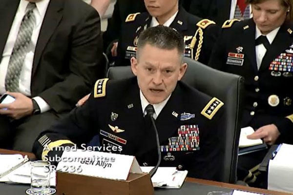 Army Vice Chief of Staff Gen. Daniel B. Allyn testifies, March 25, 2015, before the Senate Armed Services subcommittee on readiness, saying that sequestration would force the involuntary separation of combat veterans. (U.S Army photo)