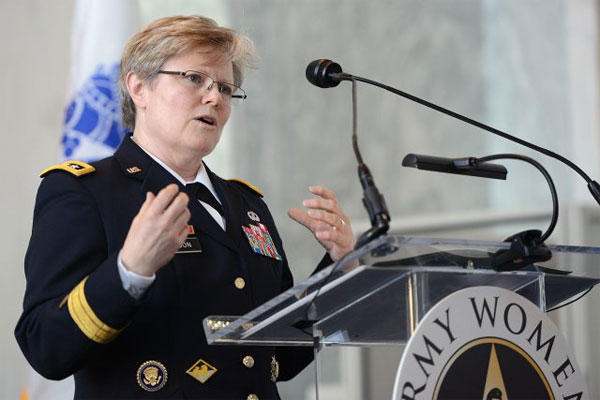 Lt. Gen. Karen Dyson, military deputy to the assistant secretary of the Army (financial management and comptroller), delivers the keynote address during a U.S. Army Women's Foundation event on Capitol Hill, March 17, 2015.U.S. Army photo: Lisa Ferdinando
