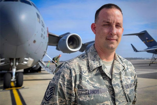 For his efforts in helping to save a family from their burning home, the Harlem Globetrotters will honor Air Force Tech. Sgt. Jeffrey Landis of the 315th Maintenance Squadron. (U.S. Air Force photo: Senior Airman Thomas Brading)