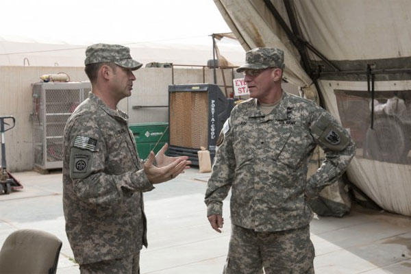 Capt. Thomas Samson, Headquarters Support Company, 90th Aviation Support Battalion commander, talks to Brig. Gen. Troy D. Kok, 11th Aviation Command commander, during his visit to Camp Buehring, Kuwait, Feb. 20, 2015. (U.S. Army photo)