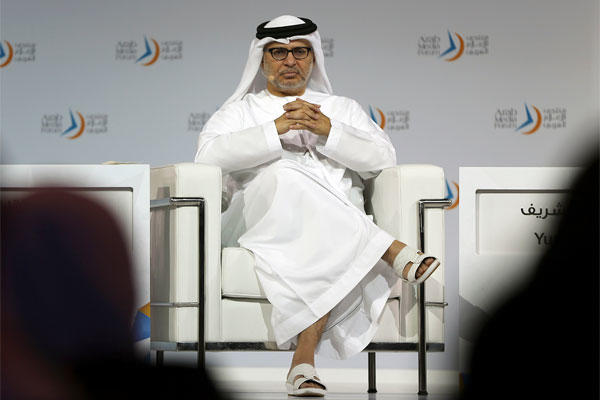 Emirati Minister of State for Foreign Affairs, Anwar Gargash talks at the Arab Media Forum in Dubai, United Arab Emirates, Wednesday, May 13, 2015. (AP Photo/Kamran Jebreili)