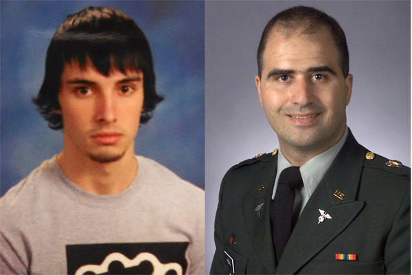 This combination of photos provided by John Ritchie and the Uniformed Services University of the Health Sciences shows Christopher Lee Cornell, left, and Nidal Malik Hasan. (John Ritchie, Uniformed Services University of the Health Sciences via AP)