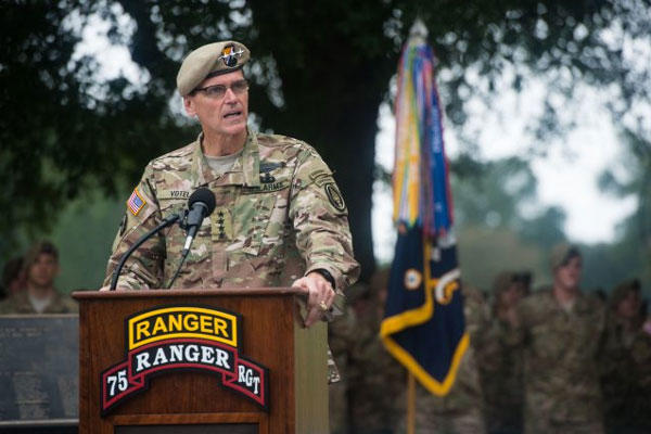 U.S. Special Operations Command Commander Gen. Joseph L. Votel makes his remarks at the Ranger Memorial in Fort Benning, GA, Oct. 03, 2014. (U.S. Army photo by Staff Sgt. Steve Cortez/ Released)