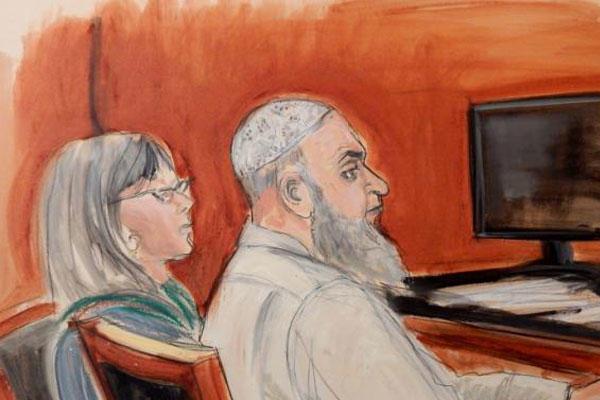 In this Jan. 20, 2015, file courtroom sketch, Khaled al-Fawwaz, right, is seated next to his defense attorney, Barbara O'Connor. (AP Photo/Elizabeth Williams)