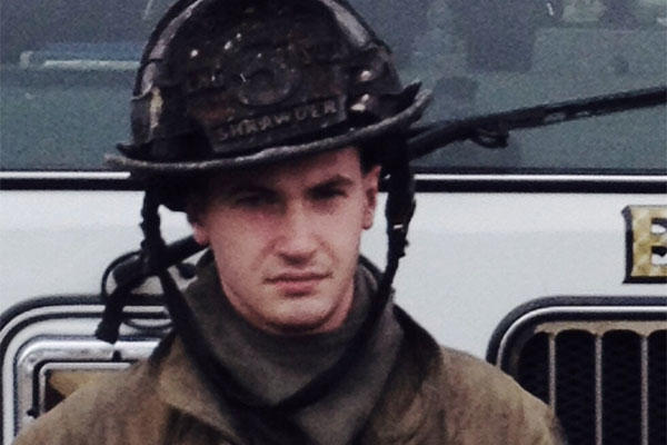 Matthew Shrawder, a firefighter for the Dunkirk Volunteer Fire Department, poses for a photo after he helped save a woman from a house fire in Owings, Maryland, March 9, 2015. (Courtesy photo provided by Matthew Shrawder)