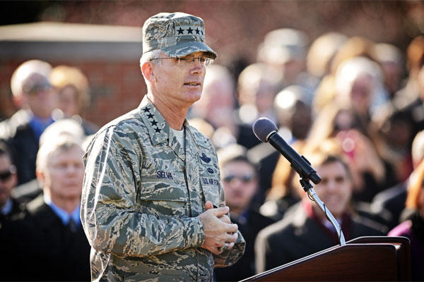 Gen. Paul J. Selva gives his incoming speech during the change of command ceremony at Scott Air Force Base Nov. 30, 2012.