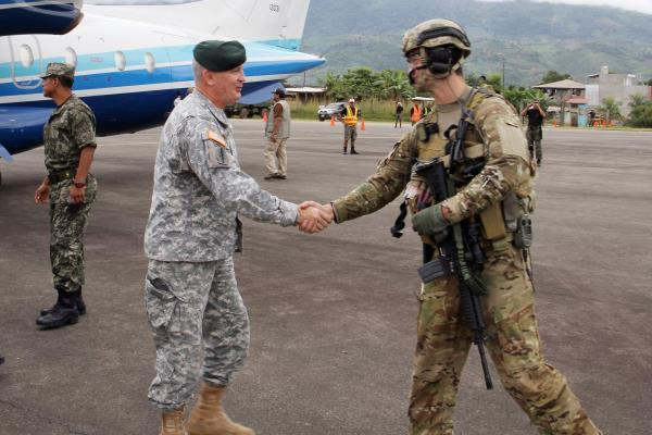 Former Army Brig. Gen. Sean P. Mulholland, the former commander of Special Operations Command South, greets U.S. service members May 7 in Lima, Peru. (DoD photo/Army Maj. Emanuel Ortiz)