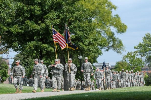 Soldiers in the Maryland National Guard march in a parade to commemorate the Battle of North Point. (Source: DoD)