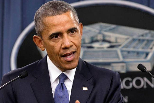 President Barack Obama speaks to the media after receiving an update from military leaders on the campaign against the Islamic State, during a rare visit to the Pentagon on Monday, July 6, 2015. (AP)