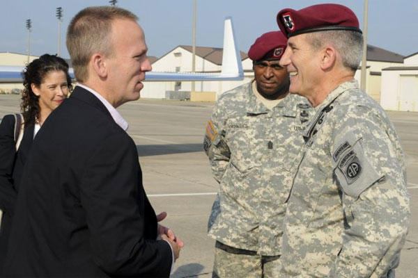 Undersecretary of the Army Brad Carson visits with Maj. Gen. John W. Nicholson Jr., commander of the 82nd Airborne Division, at Fort Bragg, N.C., July 15, 2014. (Army photo/Sgt. William Reinier, 82nd Airborne Division)