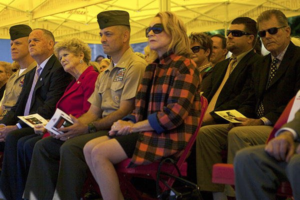 Guests attend the dedication of the Marine Corps Marathon building at Marine Corps Base Quantico, Virginia to retired Col. James Fowler, founder of the Marine Corps Marathon, Sept. 14, 2015. (U.S. Marine Corps/Sgt. Melissa Karnath)