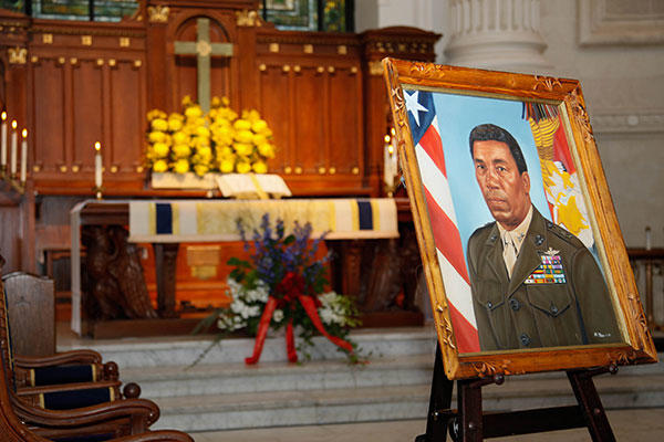 A display for Lt. Gen. Frank E. Petersen, Jr. (ret.) is showcased during his memorial service at the U.S. Naval Academy. (U.S. Marines/Sgt. Terry Brady)
