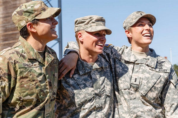 Maj. Lisa Jaster, center, became the third woman to graduate from the U.S. Army's Ranger School, Oct. 16, 2015, in Fort Benning, Ga. She joins just two other women, Capt. Kristen Griest, left, and 1st Lt. Shaye Haver, right. (U.S. ARMY RESERVE COMMAND)