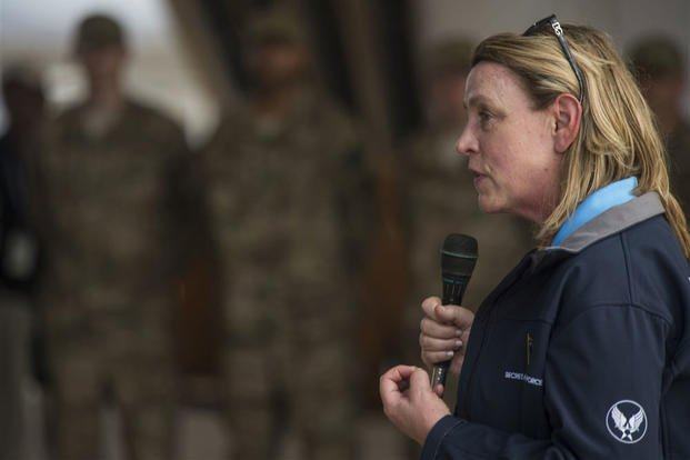 Secretary of the Air Force Deborah Lee James speaks to a group of Airmen at Chebelley Airfield, Djibouti, Nov. 12, 2015. (U.S. Air Force photo/Senior Airman Peter Thompson)