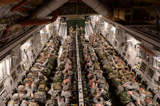 Approximately 200 members from the U.S. Army's 82nd Airborne Division partnered with 18th Air Force's Joint Base Charleston, C-17 Globemaster III crews for a practice jump, Nov. 2, 2015. (U.S. Air Force photo/Senior Airman Christopher Reel)