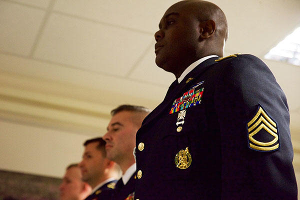 Sgt. 1st Class Tolo Gbassage, a career counselor assigned to 16th Sustainment Brigade, 21st Theater Sustainment Command, was recognized as the top U.S. Army Europe career counselor during a ceremony held in Wiesbaden, Germany. (U.S. Army/Sgt. Daniel Cole)