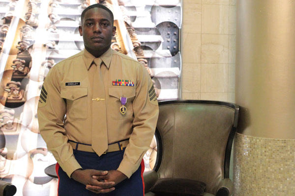 Sgt. DeMonte R. Cheeley stands for a photo after receiving the Purple Heart medal Jan. 26, 2016, at a ceremony in Chattanooga, Tenn. (Official Marine Corps photo by Cpl. Diamond N. Peden/Released)