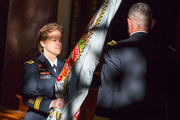 Brig. Gen. Diana Holland receives the colors from U.S. Military Academy Superintendent, Lt. Gen. Robert L. Caslen, as she assumes command of the U.S. Corps of Cadets Jan. 5. (U.S. Army/Staff Sgt. Vito T. Bryant)