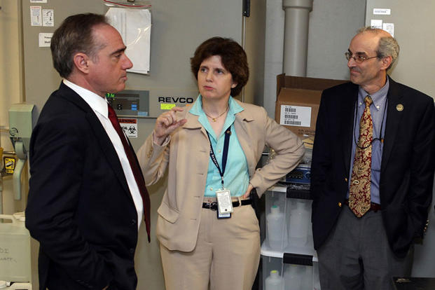 Dr. David J. Shulkin, VA Under Secretary for Health, with Dr. Mary Brophy, director of the Million Veteran Program biorepository, and Dr. J. Michael Gaziano, science director for the Mass. Veterans Epidemiology Research and Information Center.  (VA photo)
