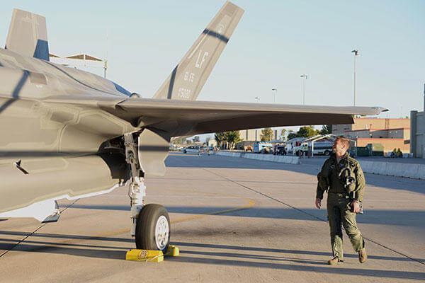 Lt. Col. Matthew Hayden, 56th Fighter Wing chief of safety and pilot attached to the 61st Fighter Squadron, inspects his F-35 before entering the cockpit and beginning take-off procedures. (U.S. Air Force/A1C Ridge Shan)