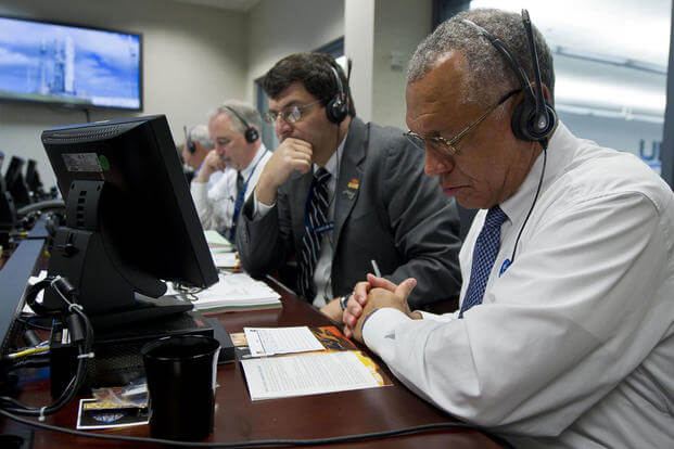 NASA Administrator Charles Bolden, right, monitors the countdown of the United Launch Alliance Atlas V rocket, along with NASA Associate Administrator Chris Scolese, Saturday, Nov. 26, 2011. (Photo: NASA/Paul E. Alers)