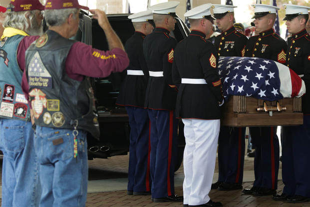 Marines carry Lance Cpl. Skip Wells' casket into the First Baptist Church of Woodstock July 26, 2015 in Woodstock, Georgia. (U.S. Marine Corps photo/ Corporal Ian Ferro)