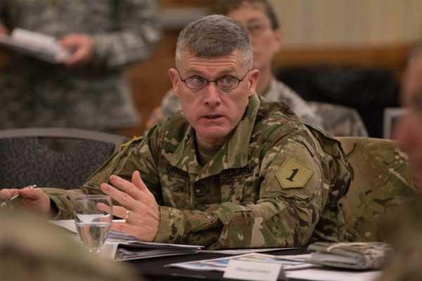 Maj. Gen. Wayne Grigsby Jr., 1st Infantry Division and Fort Riley commanding general, talks Feb. 11 to participants of the Total Army Conference about the benefits of training at Fort Riley. (Photo Credit: Amanda Kim Stairrett)