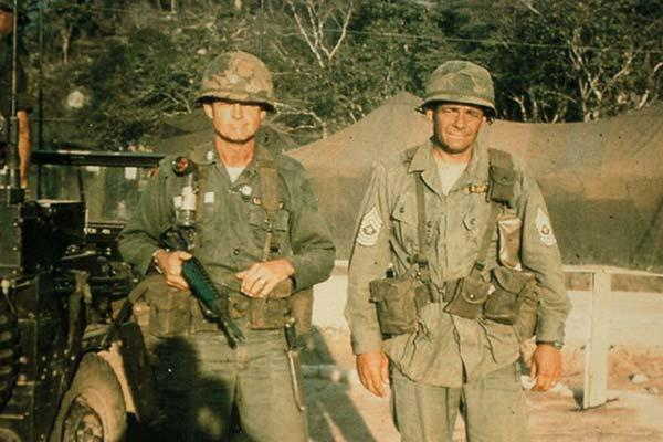 CSM Plumley and Lt. Col. Harold Moore in Vietnam (Pinterest)