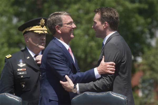 Secretary of Defense Ash Carter congratulates Secretary of the Army Eric Fanning at his arrival ceremony, June 20, 2016. (DoD photo by Navy Petty Officer 1st Class Tim D. Godbee)