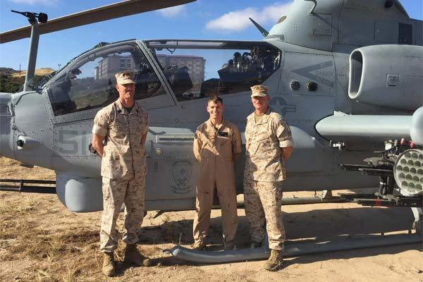 Capt. Jason Grimes, a UH-1Z Cobra pilot stands with the leadership of 2nd Battalion, 5th Marine Regiment in Marine Corps Base Camp Pendleton, Calif. (Photo: Courtesy Photo)