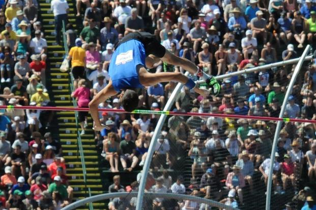 First Lt. Cale Simmons clears the bar during the U.S. Olympic track and field trials in Eugene, Ore., July 2, 2016. Two days later, he secured a spot on the U.S. Olympic team with a second-place finish in the finals. (U.S. Army/David Vergun)