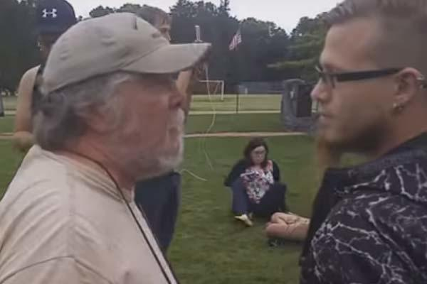 Video screengrab of Vietnam veteran's Bruce Reed Jr.'s confrontation with Pokemon GO players at a veterans park in Winona City, Minnesota. (YouTube screengrab)
