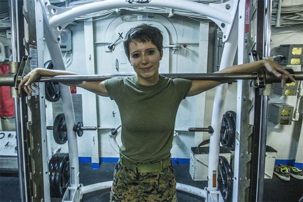 Marine Corps Cpl. Tori C. Best, a combat engineer with the 13th Marine Expeditionary Unit, is the current female pullup record holder aboard the USS Boxer, Aug. 6, 2016. (Marine Corps photo by Cpl. Alvin Pujols)