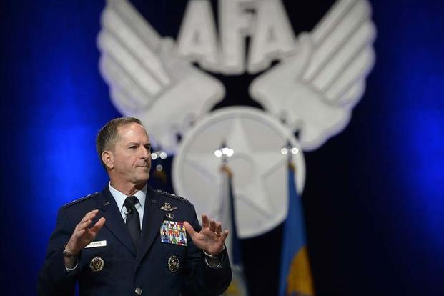 "Air Force Chief of Staff Gen. Dave Goldfein gives his first ""Air Force Update,"" during the Air Force Association's Air, Space and Cyber Conference in National Harbor, Md., Sept. 20, 2016. (U.S. Air Force photo/Scott M. Ash)"